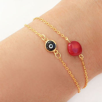 Black evil eye bracelet red coral bracelet gold plated ball chain dainty istanbul turkey jewelry ethnic arabic best friend birthday gift