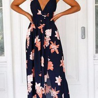 Navy Plunge Neckline Floral Print Criss Cross Back Side Split Maxi Dress