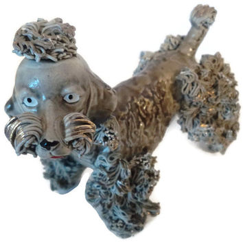 Vintage Thames Gray Brown Spaghetti Porcelain Poodle Figurine