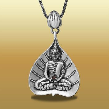 925 Silver Handmade Lady Pendant Exquisite Beautiful Buddha Statue