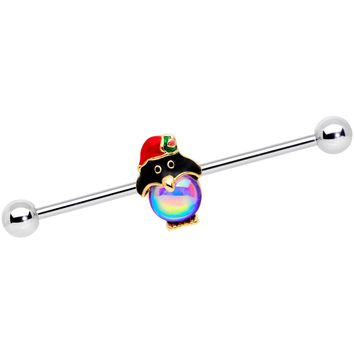 14 Gauge Iridescent Orb Holiday Penguin Barbell 38mm