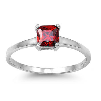 925 Sterling Silver CZ Princess Cut Solitaire Simulated Garnet Ring 5MM