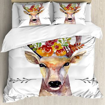Indie Duvet Cover Set Deer Portrait in Watercolor Painting Style Boho Flower Bouquet Hipster Rustic Artwork 4 Piece Bedding Set