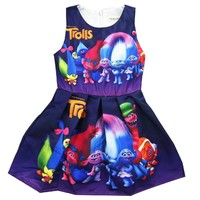 Trolls Party Dress Baby Clothes Princess Dress for Girls Princess Dresses Kid Trolls Costume Children Clothing Cartoon Clothes