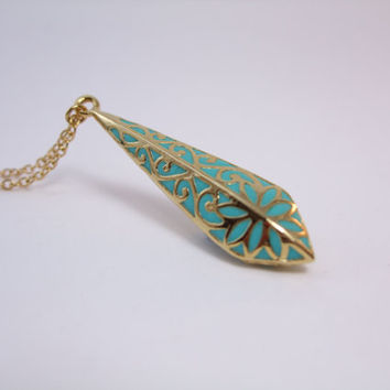 Victorian pendant ,gold drop in a fresh caribean teal shade, clasic motives,perfect gift for you
