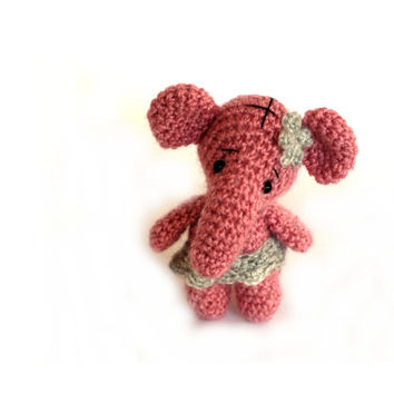 ballerina elephant, crochet pink elephant doll, charming little elephant, ballerina doll, collectible ballerina birthday party centerpiece