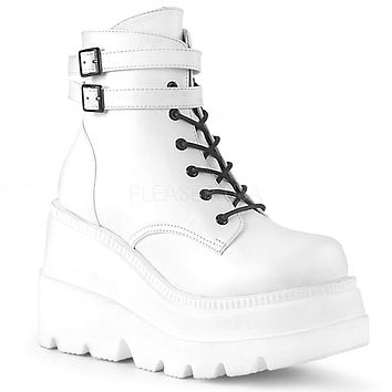 Shaker 52 White Matte Platform Gothic Ankle Boot f843c8bca3aa