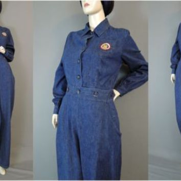 Vintage 1940s Denim Coveralls WWII Workwear Uniform 36 38 bust Rosie the Riveter
