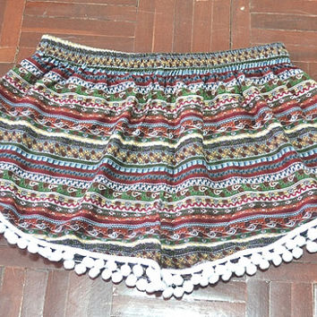 High Waisted Pom Pom Shorts mixes colors, Beach shorts, Spring fashion, Please read carefully for our measurement size as item details.