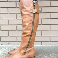 Cognac Bronco Small Heel Knee-High Boots