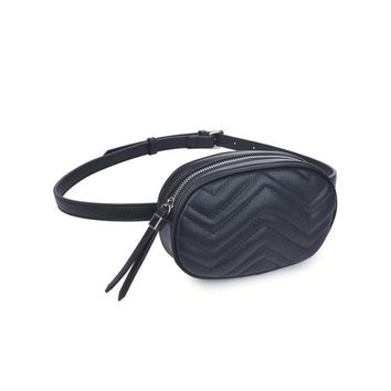 Sage Black Vegan Leather Belt Bag
