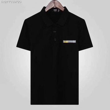 FENDI 2018 Spring and summer nwe business leisure lapel T-shirt polo shirt ღ014