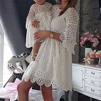 Matching Mother Daughter Dresses Exquisite White EYELET Embroidered Lace with UnderSlip