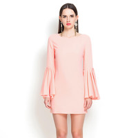 Casual Flared Long Sleeve Mini Dress