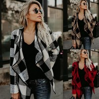 2017 Plaid lapel woolen jacket coat