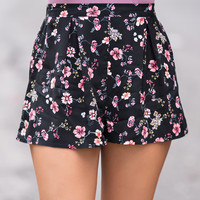 Festival Feels Floral Shorts (Black)
