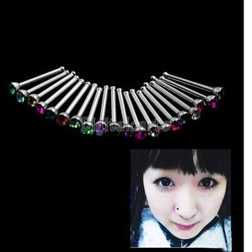 [Crazy 20pcs Rhinestone Nose Ring Bone Stud Body Piercing Jewelry 821 = 5979164673