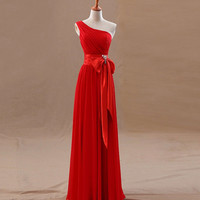 One-shoulder chiffon evening dresses with rhinestones prom dresses ,short bridesmaid dress for wedding unique sweetheart homecoming dress