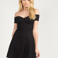 Fit and Flare Off the Shoulder Dress - Black
