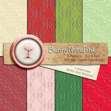 Christmas Bows and Boughs - Digital Scrapbook Paper Pack