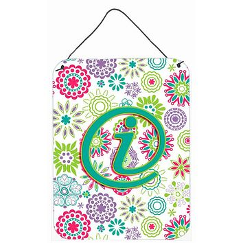 Letter I Flowers Pink Teal Green Initial Wall or Door Hanging Prints CJ2011-IDS1216