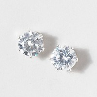 CZ 8 mm Round Stud Earrings  | Claire's