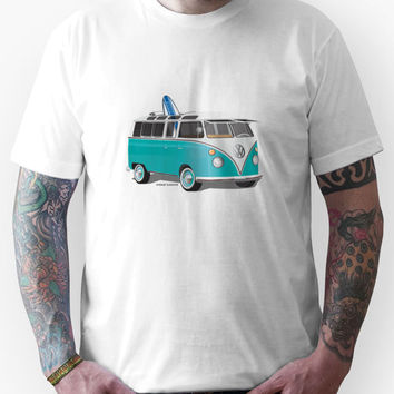Split VW Bus Teal with Surfboard Unisex T-Shirt