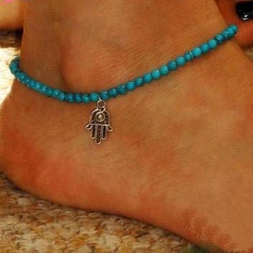 Hamsa Fatima Hand Cute Women Ankle Bracelet Ladies Anklet Ankle Chain Leg Jewelry Gold Silver Color