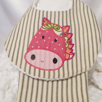 Handmade Baby Bib and Burp Cloth with Horse Applique'