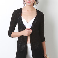 Hooded Woven Knit Cardigan