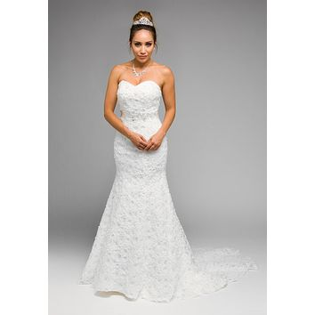 Strapless Mermaid Appliqued Sequins Wedding Gown Corset Back White