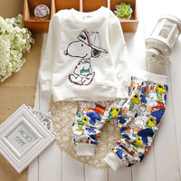 2015 New Baby clothing sets unisex kids long sleeve+pants set cartoon clothes suits for infant boy girl spring roupas de bebes