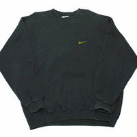 Vintage 90s Faded Black Nike Crewneck Sweatshirt Made in USA Mens Size Large - Default Title