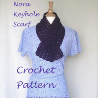 Easy Crochet Pattern Keyhole Scarf, Worsted Yarn, Lacy Scallop, Pull Through Scarf, Ascot Neck Warmer