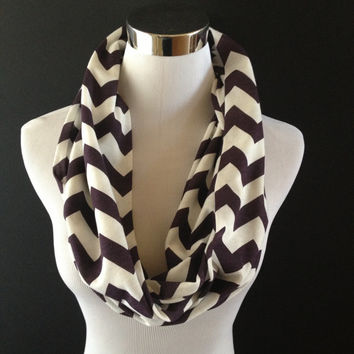 Super Cute New Jersey Knit Eggplant & Cream Infinity Chevron Fashion Scarf SUPER SOFT