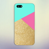 Geometric Gold Glitter x Teal x Hot Pink Design Case for iPhone 6 6 Plus iPhone 5 5s 5c iPhone 4 4s Samsung Galaxy s5 s4 & s3 and Note 4 3 2