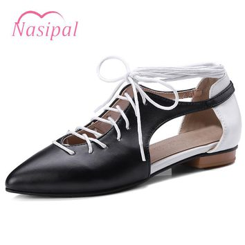 Nasipal Chuky Flat Shoes Woman Pointed Toe Roman Women Shoes Lace Up Gladiator Cut Outs Oxford Shoes Casual Zapatos FemininoC311