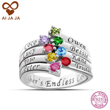 AIJAJA 925 Sterling Silver Customized Women Rings Personalized Family Names Birthstones Engraved Rings Unique Bijoux Mother Band
