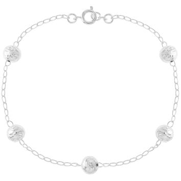 """Silver Plated Ball Bracelet Thin Chain Link Ladies Woman 8"""""""