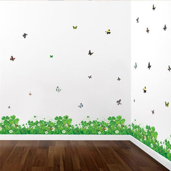 fantastic green clover flowers butterfly wall art room decorations 038. diy pvc print foot line mural art plant home decals 5.0