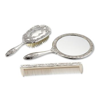 Silver-plated Antiqued Three Piece Dresser Set - Engravable Gift Item