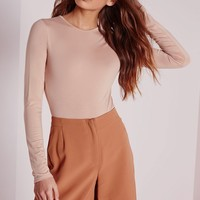 Missguided - Jersey Long Sleeve Bodysuit Nude