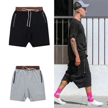 HCXX streetwear men black/gray/khaki shorts mens stretch cotton sweat jogger shorts