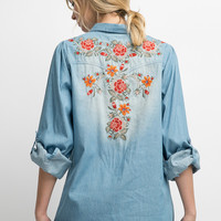 Denim Floral Button Up Top