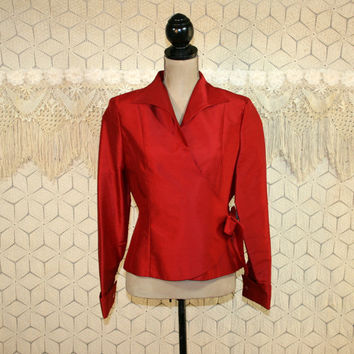 Red Silk Blouse Wrap Blouse Long Sleeve Dressy Tops Medium Womens Blouses Red Blouse Red Top Silk Top Silk Shirt New Womens Clothing