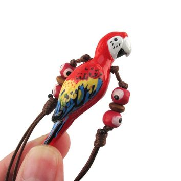 Handmade Red Macaw Parrot Bird Shaped Hand Painted Whistle Pendant Necklace | DOTOLY