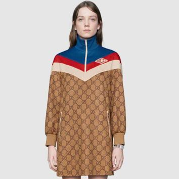 GUCCI 2018 new women's classic GG jersey long-sleeved turtleneck dress F0464-1