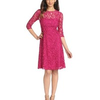 Adrianna Papell Women's 3/4 Sleeve Fit and Flare Lace Dress, Crushed Berry, 4 Reviews - save winkie Shop