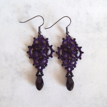 Purple , Black Dangle Earrings , Beaded Tatted Lace - Mina - One Of A Kind - Goth , Victorian Gothic , Alternative Wedding Jewellery