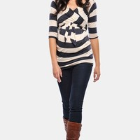 Women's Olian 'Kayla' Maternity Cross Front Stripe Tunic